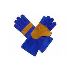 Краги спилковые пятипалые Люкс с подкладкой (синие)