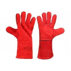 Краги спилковые пятипалые (красные)