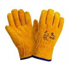 Перчатки спилковые цельные Драйвер (желтые)